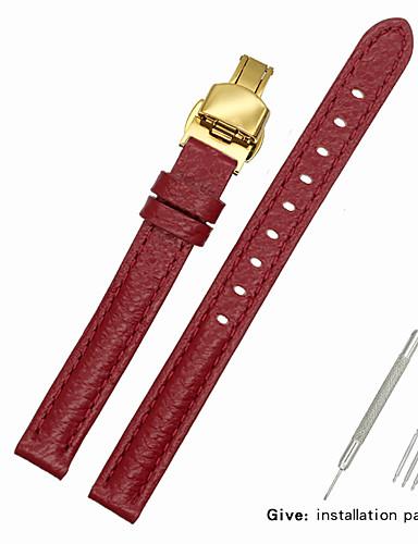 couro legítimo / Pele / Pêlo de Bezerro Pulseiras de Relógio Alça para Vermelho Outra / 17cm / 6,69 polegadas / 19cm / 7.48 Polegadas 1cm / 0.39 Polegadas