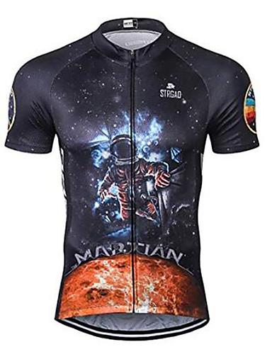 povoljno Odjeća za vožnju biciklom-21Grams Astronaut Muškarci Kratkih rukava Biciklistička majica - Crn Bicikl Biciklistička majica Majice Prozračnost Ovlaživanje Quick dry Sportski Terilen Brdski biciklizam Odjeća / Mikroelastično