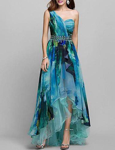 levne Maxi šaty-Dámské Elegantní Swing Šaty - Geometrický, Tisk Asymetrické Jedno rameno