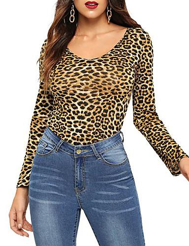 billige Dametopper-T-skjorte Dame - Leopard, Trykt mønster Gatemote / Elegant Lysebrun