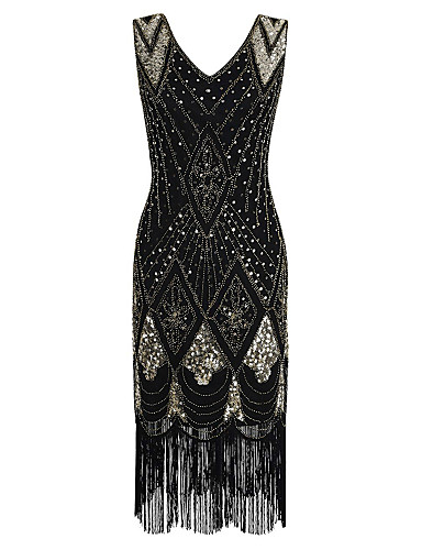 cheap Cocktail Dresses-The Great Gatsby Charleston Sheath / Column Elegant Vintage Inspired Holiday Cocktail Party Dress V Neck Sleeveless Tea Length Sequined Polyester with Beading Sequin Tassel 2020
