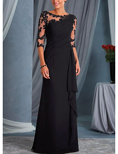cheap Mother of the Bride Dresses-Sheath / Column Mother of the Bride Dress Plus Size Bateau Neck Floor Length Chiffon Lace Half Sleeve with Lace 2020 Mother of the groom dresses