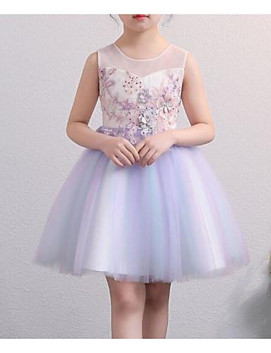 Prinsesse Knelang Blomsterpikekjole - Polyester / Tyll Ermeløs Besmykket med Perlearbeid / Appliqué / Sløyfe(r)