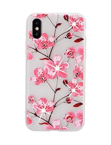 Capinha Para Apple iPhone XS / iPhone XR / iPhone XS Max Com Strass / Com Relevo / Estampada Capa traseira Flor TPU