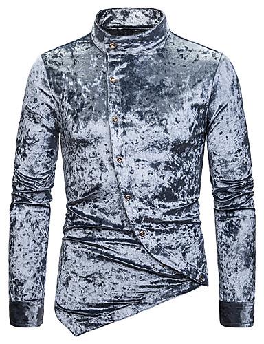 levne Pánské košile-Pánské - Jednobarevné Základní Košile Černá