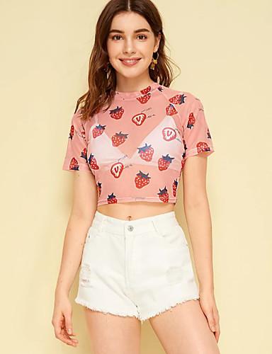 billige T-skjorter til damer-Tynn T-skjorte Dame - Frukt, Trykt mønster Grunnleggende Rosa