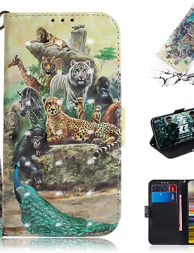 Capinha Para Sony Sony Xperia L3 / Sony Xperia 10 / Sony Xperia 10 Plus Carteira / Porta-Cartão / Com Suporte Capa Proteção Completa Animal / Desenhos 3D PU Leather