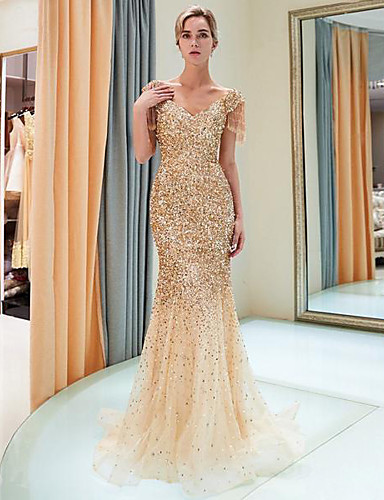 cheap Clearance-Mermaid / Trumpet Sparkle Gold Party Wear Formal Evening Dress V Neck Short Sleeve Sweep / Brush Train Tulle Sequined Polyester with Sequin 2020