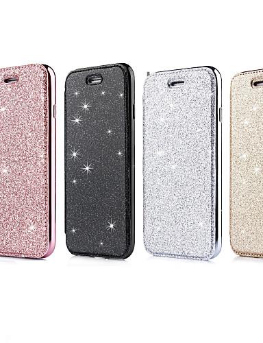 caso para apple iphone xr / iphone xs brilho máximo glitter / flip / chapeamento casos de corpo inteiro brilho brilho macio tpu / pu couro para iphone 6 / iphone 6 plus / 7 / 7pius / 8 / 8pius / x /