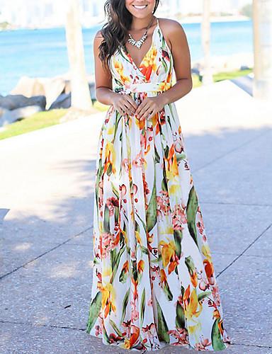 levne Maxi šaty-Dámské Plážové Cikánský Swing Šaty - Květinový, Tisk Maxi Ramínka