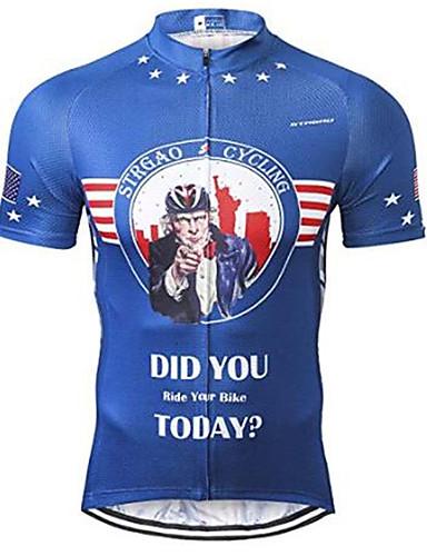 povoljno Odjeća za vožnju biciklom-21Grams American / USA Ujak Sam Državne zastave Muškarci Kratkih rukava Biciklistička majica - Plava Bicikl Biciklistička majica Majice Prozračnost Ovlaživanje Quick dry Sportski Terilen Brdski