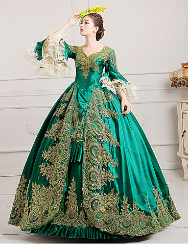 cheap Historical & Vintage Costumes-Marie Antoinette Rococo 18th Century Dress Ball Gown Women's Lace Satin Costume Burgundy / Green / Royal Blue Vintage Cosplay Party Prom Floor Length Ball Gown Plus Size Customized
