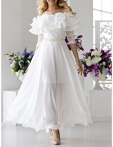 levne Maxi šaty-Dámské Elegantní Swing Šaty - Jednobarevné, Krajka Volány Maxi Pod rameny Úzký výstřih