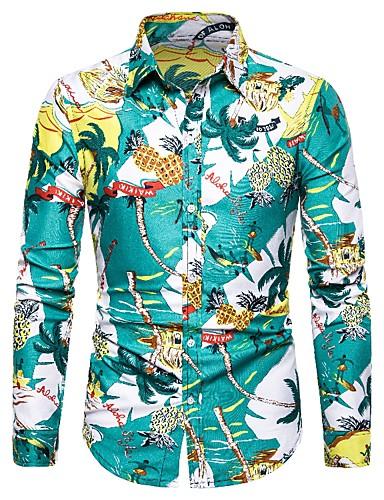 preiswerte Hemden-Herrn Blumen / Frucht - Grundlegend Hemd Druck Tropisches Blatt / Ananas Leicht Blau