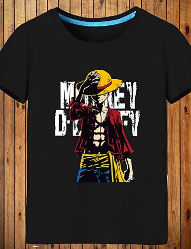 povoljno Anime cosplay-Inspirirana One Piece Monkey D. Luffy Anime Cosplay nošnje Japanski Cosplay majica Print Kratkih rukava Top Za Muškarci / Žene