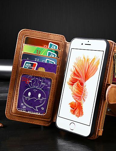 Capinha Para Apple iPhone 8 / iPhone 7 Carteira / Porta-Cartão / Flip Capa Proteção Completa Sólido PU Leather