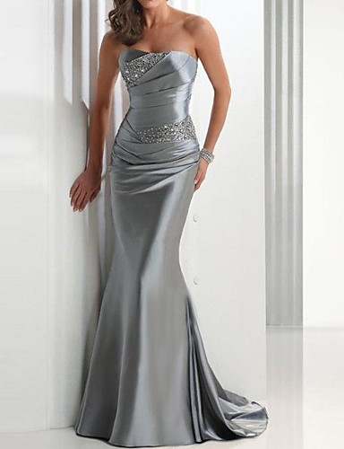 cheap Special Occasion Dresses-Mermaid / Trumpet Sparkle Grey Wedding Guest Formal Evening Dress Strapless Sleeveless Sweep / Brush Train Satin with Crystals 2020
