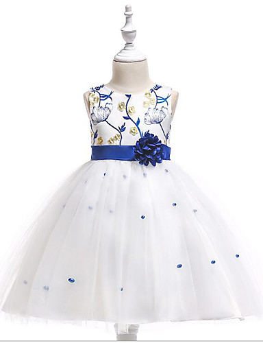 A-linje Gulvlang Blomsterpikekjole - Tyll / Polyester / bomullsblanding Ermeløs Besmykket med Kronblader / Perledetaljer