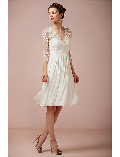 cheap Wedding Dresses-A-Line V Neck Knee Length Lace 3/4 Length Sleeve Beach Little White Dress / Illusion Sleeve Wedding Dresses with 2020