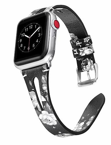 ekte skinn utskrift watchband for Apple Watch 40mm / 44mm / 38mm / 42mm stropp serie 4 3 2 1 armbånd band tilbehør