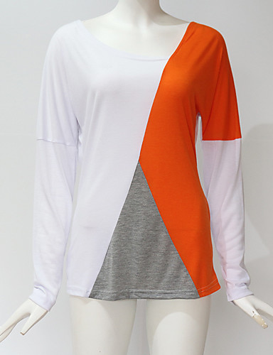billige Dametopper-T-skjorte Dame - Ensfarget, Lapper Gatemote / Elegant Hvit