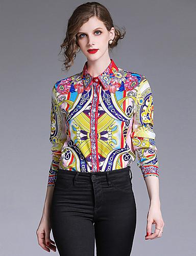 billige Topper til damer-Skjortekrage Skjorte Dame - Galakse, Trykt mønster Vintage / Elegant Gul