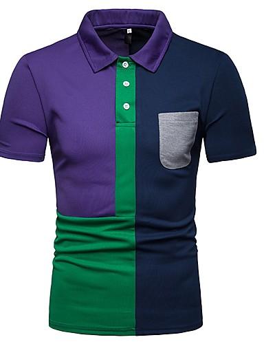 Ανδρικά Polo Συνδυασμός Χρωμάτων Κολάρο Πουκαμίσου Patchwork Ρουμπίνι / Κοντομάνικο