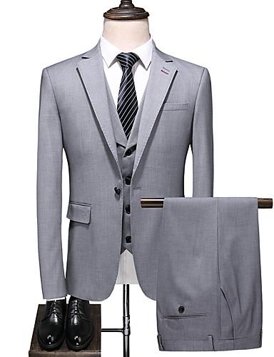 billige Brudgom og brudesvenner-Grå Ensfarget Standard Polyester Dress - Med hakk Enkelt Brystet Enn-knapp / drakter