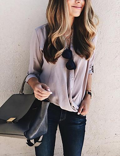 povoljno Ženske majice-Bluza Žene - Osnovni Dnevni Nosite Jednobojni Kolaž Blushing Pink