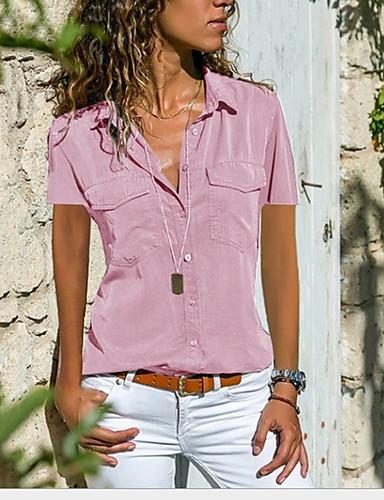 billige Dametopper-Løstsittende Skjortekrage Skjorte Dame - Ensfarget Svart