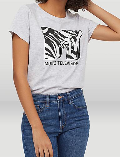 billige Dametopper-Bomull T-skjorte Dame - Bokstaver, Trykt mønster Gatemote Grå