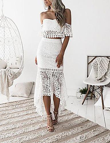 preiswerte Sexy Kleider-Damen Anspruchsvoll Elegant Spitze Schlank Hülle Trompete / Meerjungfrau Kleid - Rückenfrei Rüsche Spitzenbesatz, Solide Midi Trägerlos