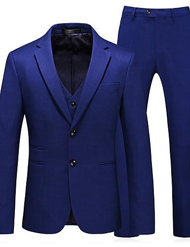 preiswerte Eng anliegende Blazer-Herrn Anzüge, Solide Gekerbtes Revers Polyester Blau / Schlank