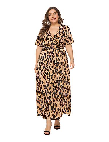 levne Šaty velkých velikostí-Dámské A Line Šaty - Leopard, Tisk Wrap Maxi