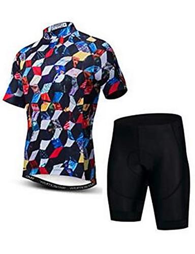 povoljno Odjeća za vožnju biciklom-21Grams 3D Cube Muškarci Kratkih rukava Biciklistička majica s kratkim hlačama - Red+Black Bicikl Sportska odijela Prozračnost Ovlaživanje Quick dry Sportski Elastan Terilen Brdski biciklizam