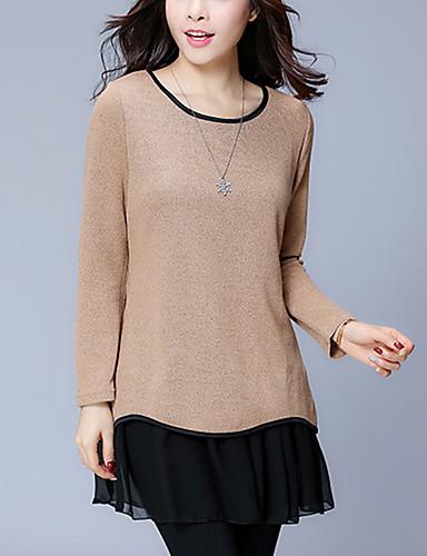 billige Dametopper-Bomull Løstsittende T-skjorte Dame - Ensfarget, Blonde / Drapering / Lapper Gatemote / Elegant Ut på byen Svart og Grå Blå