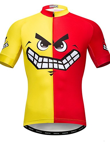 cheap Cycling-21Grams Men's Short Sleeve Cycling Jersey Summer Elastane Lycra Polyester Red / Yellow Novelty Funny Bike Jersey Top Mountain Bike MTB Road Bike Cycling Quick Dry Moisture Wicking Breathable Sports