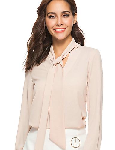 billige Dametopper-V-hals Skjorte Dame - Ensfarget, Lapper Grunnleggende Svart