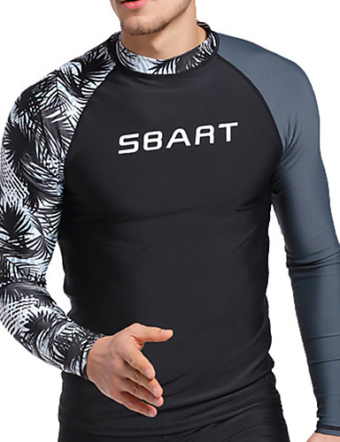 cheap Wetsuits, Diving Suits & Rash Guard Shirts-SBART Men's Rash Guard Nylon Spandex Sun Shirt Swim Shirt Breathable Quick Dry High Elasticity Long Sleeve Swimming Diving Surfing Patchwork Summer Spring, Fall, Winter, Summer / Stretchy / UPF50+