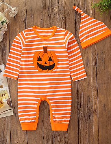 Baby Gutt Aktiv / Grunnleggende Stripet Trykt mønster Langermet Endelt Oransje