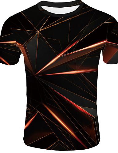 levne Pánská tílka-Pánské - 3D Základní EU / US velikost Tričko Kulatý Oranžová / Krátký rukáv