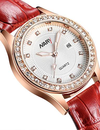 Dame Digital Watch Quartz Vintage Stil Elegant Ekte lær Rød / Lilla 30 m Hverdagsklokke Analog Fritid Mote - Hvit Svart To år Batteri Levetid / Rustfritt stål