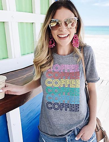 billige T-skjorter til damer-Løstsittende T-skjorte Dame - Bokstaver, Trykt mønster Grunnleggende Mørkegrå