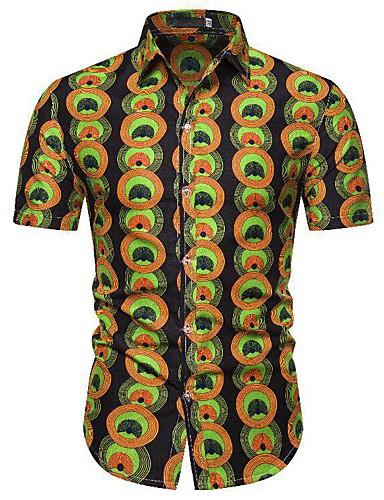levne Pánské košile-Pánské - Grafika / maskování / Etno Klub Punk & Gothic EU / US velikost Košile, Tisk Bavlna Klasický límeček Světle zelená / Krátký rukáv
