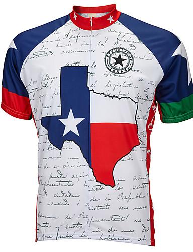 povoljno Odjeća za vožnju biciklom-21Grams Teksas Državne zastave Muškarci Kratkih rukava Biciklistička majica - Blue / Bijela Bicikl Biciklistička majica Majice Prozračnost Ovlaživanje Quick dry Sportski Terilen Brdski biciklizam