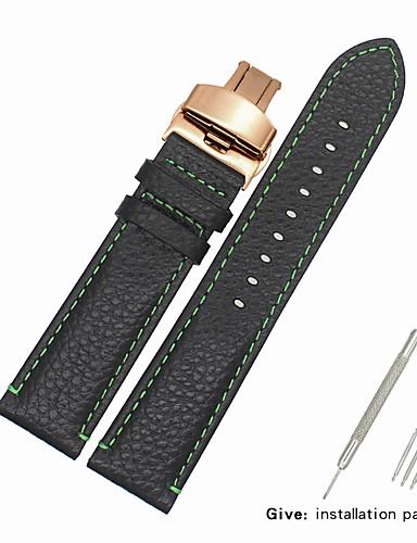couro legítimo / Pele / Pêlo de Bezerro Pulseiras de Relógio Alça para Preta Outra 2cm / 0.8 Polegadas / 2.2cm / 0.9 Polegadas / 2.3cm / 0.91 Polegadas