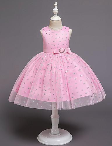 Μωρό Κοριτσίστικα Ενεργό / Κομψό στυλ street Μονόχρωμο Πούλιες Αμάνικο Ως το Γόνατο Φόρεμα Ανθισμένο Ροζ