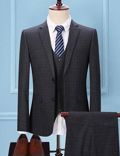 Herre drakter, Hundetannmønster Skjortekrage Polyester Mørkegrå / Beige / Navyblå / Tynn