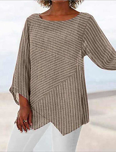 billige T-skjorter til damer-Oversized T-skjorte Dame - Stripet, Lapper / Trykt mønster Vintage / Grunnleggende Hvit