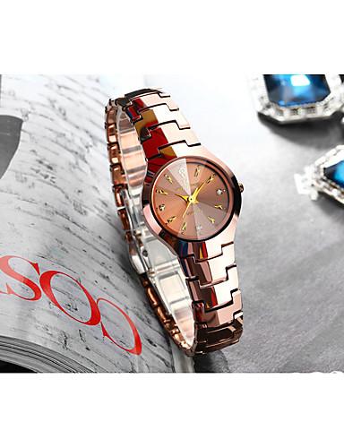 Dame Quartz Syntetisk Diamant Mote Elegant Sølv Rose Gull Rustfritt stål Kinesisk Quartz Sølv Rose Gull Vannavvisende Hverdagsklokke 30 m Analog